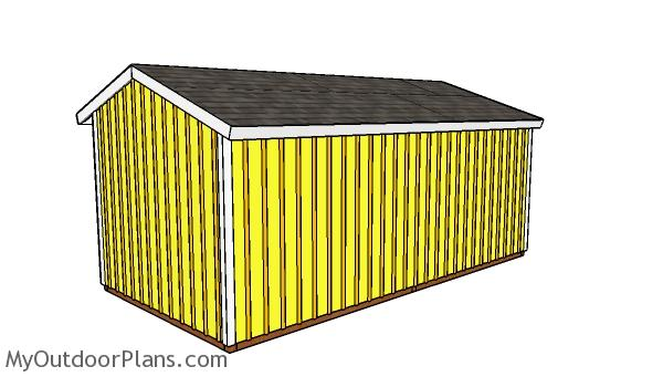 10x20 2 Stall Horse Barn Plans - Back view