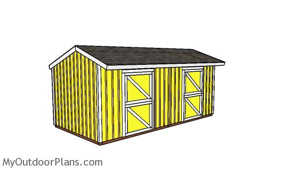 10x20 2 Stall Horse Barn Plans