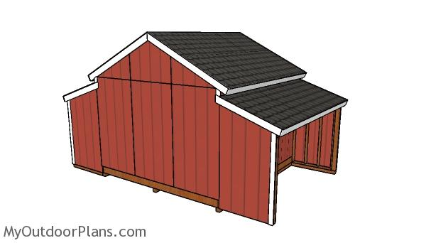 12x20 Center Aisle Shed Plans - Back view