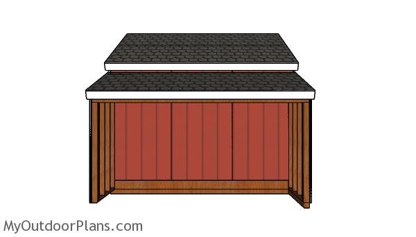 12x20 Center Aisle Shed Plans - Side view