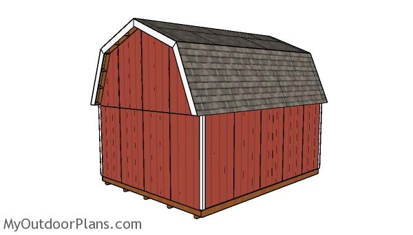 16x20 Gambrel Shed Plans - Back view