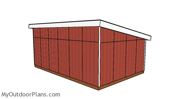 16x24 Lean to Shed Plans - Back view