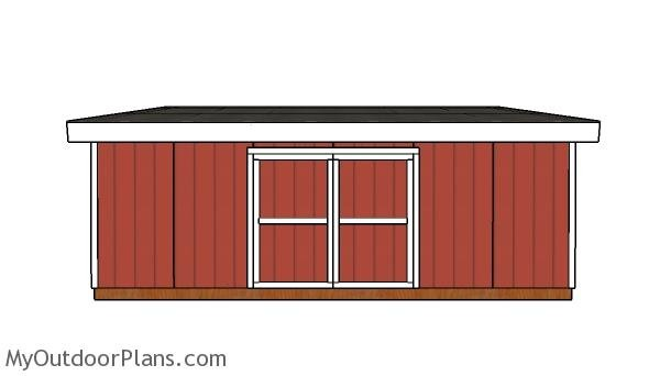 16x24 Lean to Shed Plans - Front view