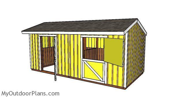 10x20 2 Stall Horse Barn Plans