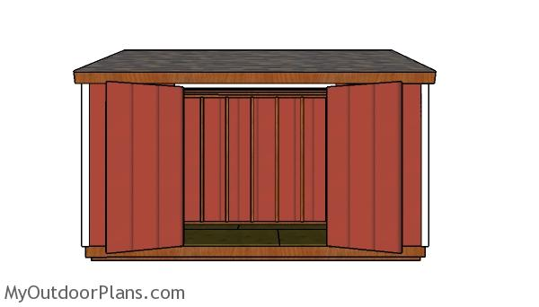 6x14 Lean to Shed Plans - Front view