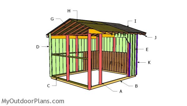 10x12 Run in Shed Roof Plans