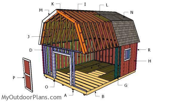 16x20 gambrel shed roof plans myoutdoorplans free for 16x20 garage plans