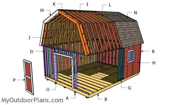 16x20 Gambrel Shed Plans Myoutdoorplans Free Woodworking Plans