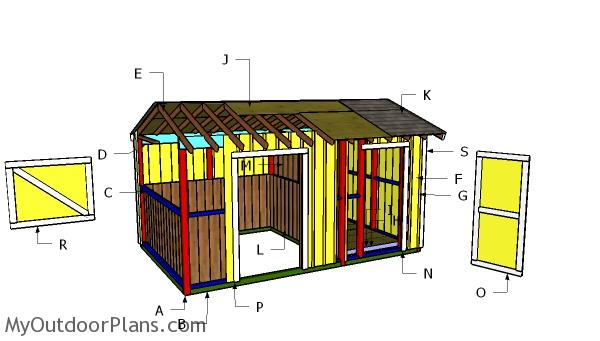 10x16 Horse Barn with Tack Room Roof Plans