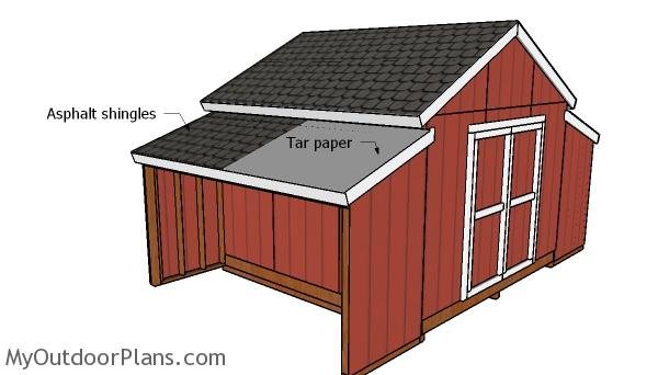 Fitting the roofing to the side storage sheds