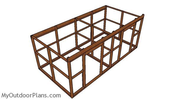 Frame for the 2 stall horse barn