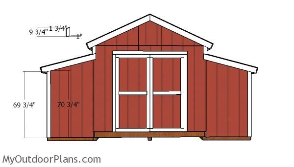 12x20 Raised Center Aisle Barn Shed Door Plans