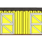 10×20 2 stall Horse Barn Shed Door Plans