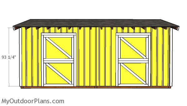 10x20 2 stall Horse Barn Shed Door Plans
