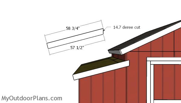 Side storage shed roof trim
