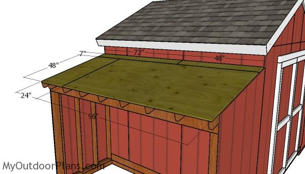 Side storage shed roof sheets