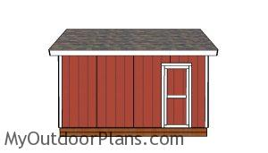 12x16 Shed with 2x6 Studs Plans - Side view