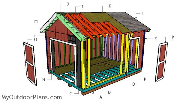 12x16 Gable Shed with 2x6 Studs Roof Plans