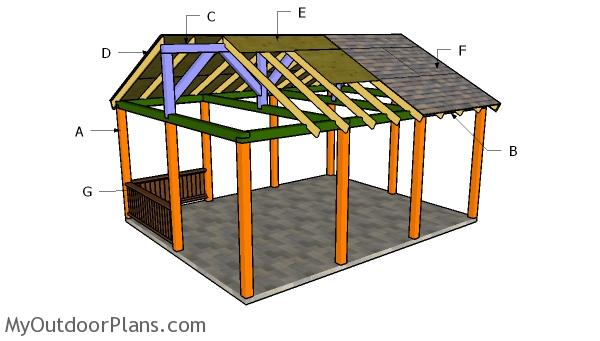 16x20 Picnic Shelter Roof Plans