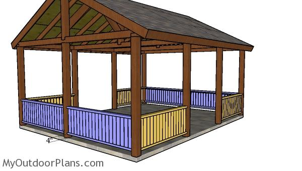 16x20 Picnic Shelter Railings