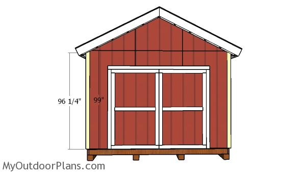 12x16 Gable Shed with 2x6 Studs Door and Trims Plans