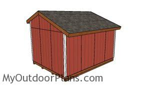 16x12 Saltbox Shed Plans - Back view