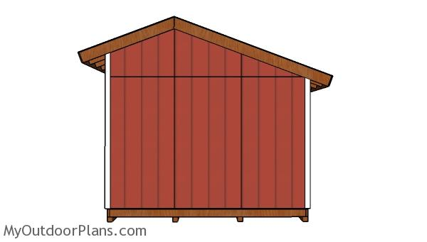 16x12 Saltbox Shed Plans - Side view