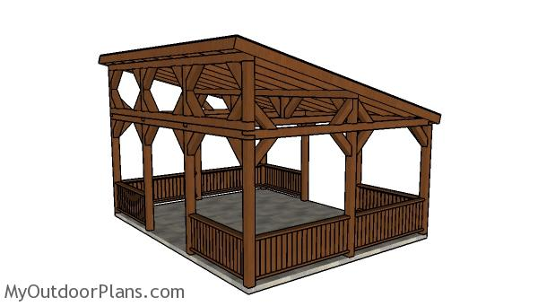 16x20 Lean to Pavilion Plans - Back view