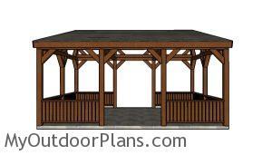 16x20 Lean to Pavilion Plans - Front view