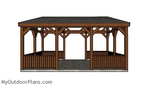 16x20 Lean to Pavilion Plans - Front view