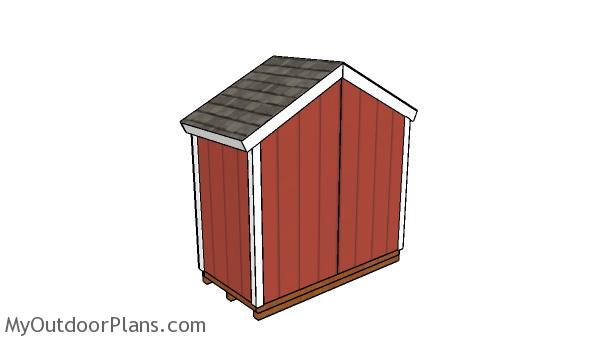 8x4 Gable Shed Plans - back view