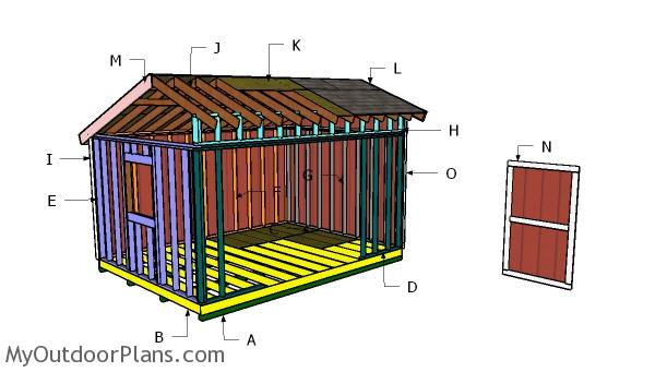 16x12 Saltbox Shed Roof Plans