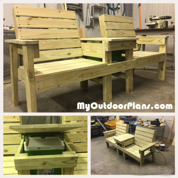 DIY Large Outdoor Double Bench with Cooler