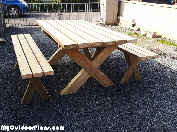 DIY X Shape Picnic Table