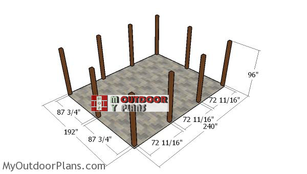 Fitting-the-posts---16x20-lean-to-pavilion