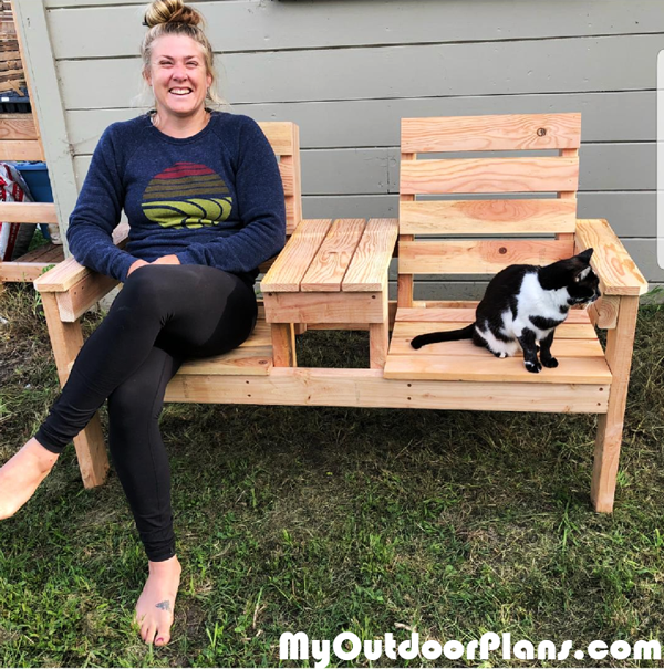 DIY 2x4 Backyard Double Chair Bench