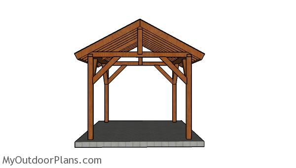 10x12 Picnic Table Plans - Front view