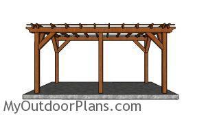 10x16 pergola plans - side view