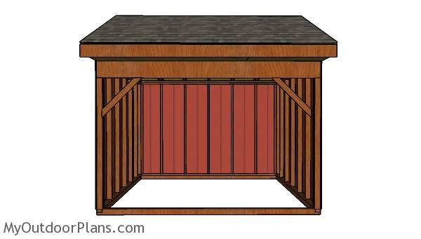 12x12 Field Shed Plans - Front view