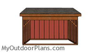 102x16 Field Shed Plans - front view