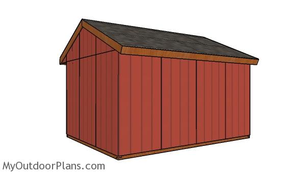 12x16 Field Shed Plans - back view