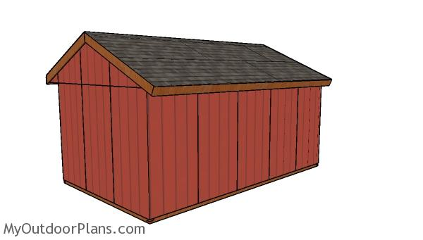 12x20 Field Shed Plans - Back view