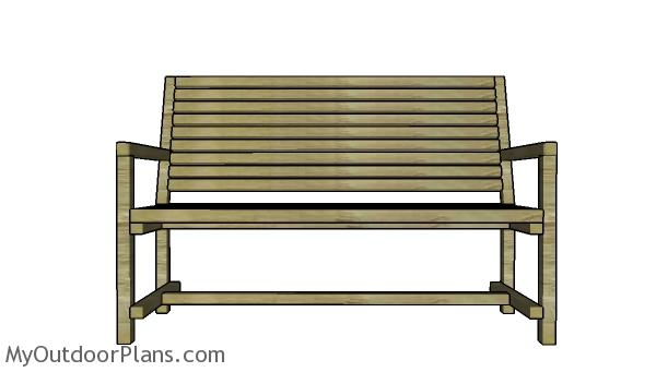 2x2 Garden Bench Plans - Front view
