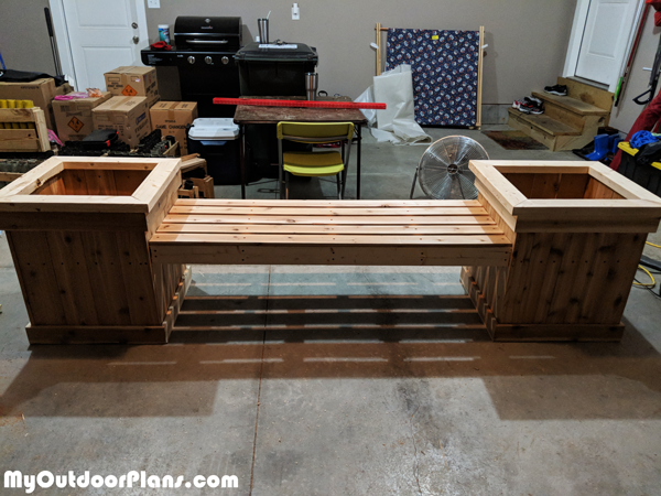 DIY Garden Bench with Planters