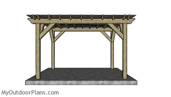 10x12 Pergola Plans - Side view