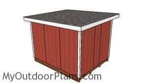 10x12 Shed with a Flat Roof Plans - Back view