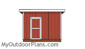 10x12 Shed with a Flat Roof Plans - Front view