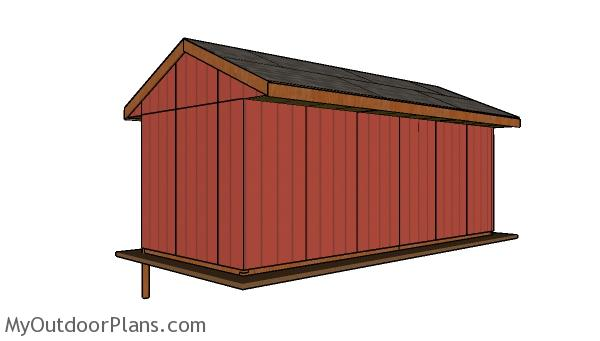 10x24 Field Shed Plans - back view