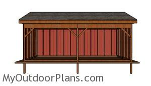 10x24 Field Shed Plans - front view