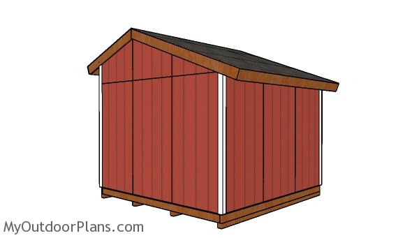 12x12 saltbox shed plans - back view